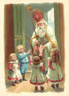 nostalgische Präge - Postkarte - Nikolaus mit 4 Ki