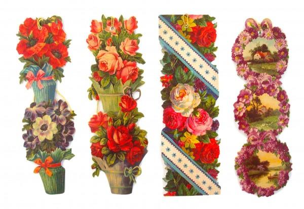 Lesezeichen 4 Blumen