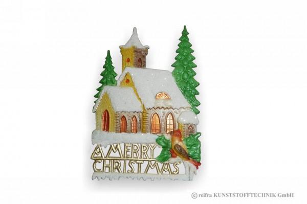 Fensterbild 16 x 23 cm, Kirche mit Vogel, Pappe