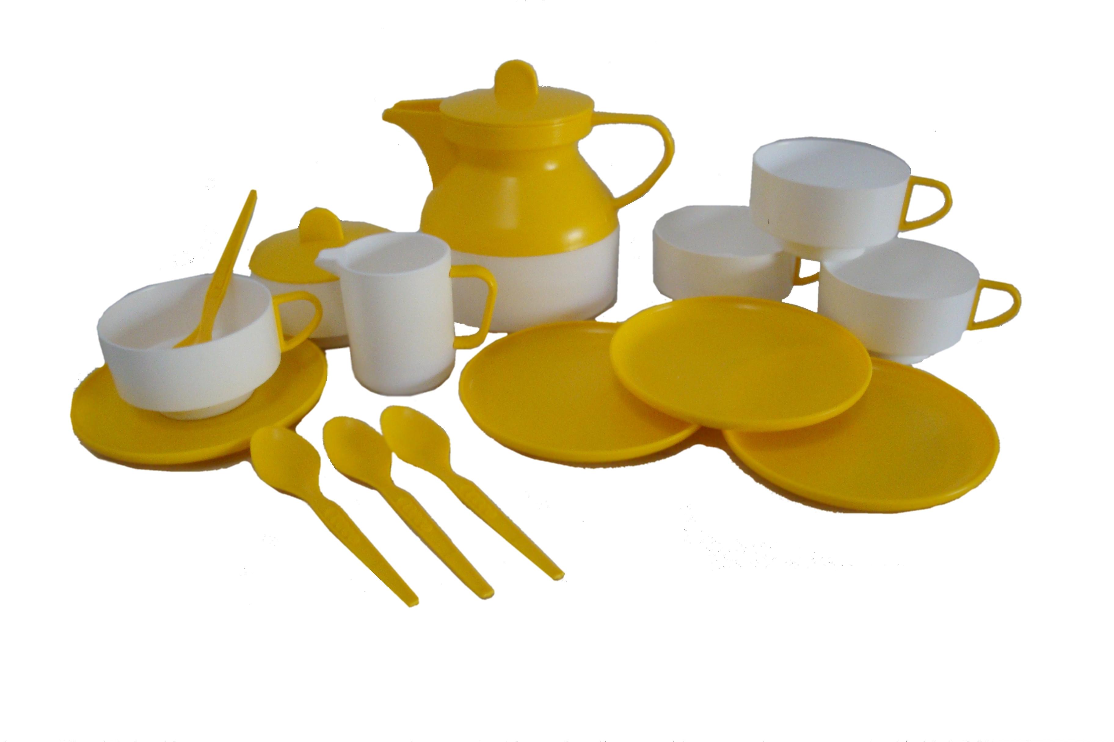 teeservice peggy wei gelb ddr puppengeschirr plastik reifra kunststofftechnik gmbh. Black Bedroom Furniture Sets. Home Design Ideas