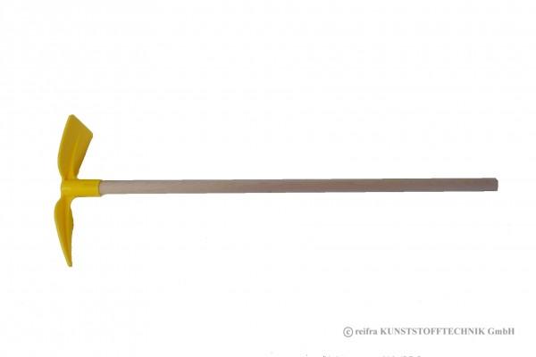 Hacke gelb mit Holzstiel