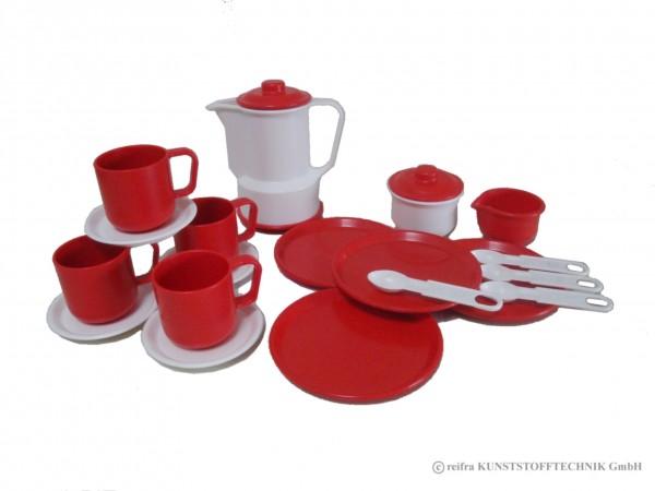 """Kaffeeservice """"Gitta"""" weiß/ rot"""