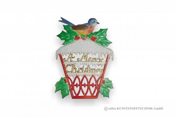Fensterbild 16 x 23 cm, Vogel auf Vogelhaus,Pappe