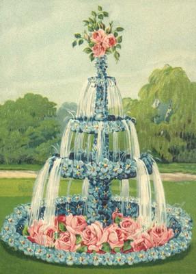 nostalgische Präge - Postkarte - Brunnen aus Vergi