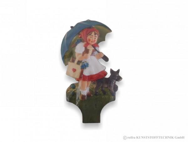 Kalenderrückwand Gepr Mädchen Blauer Schirm Hund